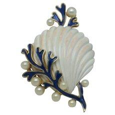 Vintage CROWN TRIFARI White Under the Sea Seashell Brooch Pin