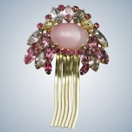 Vintage Pink Cabochon Rhinestone Tassel Brooch Pin