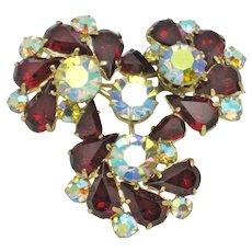 Vintage Siam Red Aurora Borealis Pinwheel  Brooch Pin
