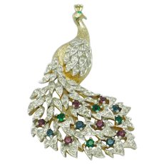 PANETTA Vintage Figural Peacock Brooch Gold Plated Rhinestone Pin