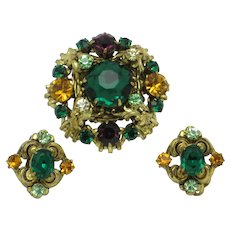 Ornate Vintage Rhinestone Gold Plated Brooch and Earring SET