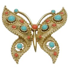 Vintage CROWN TRIFARI  Butterfly  Coral Turquoise Beaded Pin