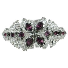ART DECO Purple Crystal and Clear Paste Duette Brooch Pin