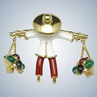 CINER Asian Oriental Figural Man Brooch Carrying Baskets Emerald Ruby Sapphire