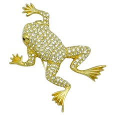 Adorable CHRISTIAN DIOR Germany Pave Crystal Frog Brooch Pin