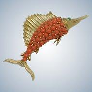 CROWN TRIFARI Sword Fish Coral Beaded Green Glass Figural Brooch