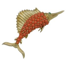 CROWN TRIFARI Sword Fish Coral Beaded Green Glass Figural Brooch