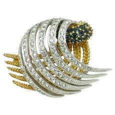 Vintage BOUCHER  Sapphire Rhinestone Diamante Brooch Pin