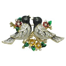 Vintage CORO  Rhinestone Enamel Love Birds on a Branch Brooch