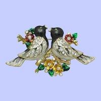 Vintage CORO (Unsigned)  Rhinestone Enamel Love Birds on a Branch Brooch