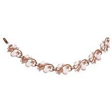 Vintage CROWN TRIFARI Bracelet Pebble Beach Pink with Rhinestones 1956