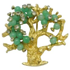 HATTIE CARNEGIE Faux Jade Glass Bead Tree of Life Brooch Pin