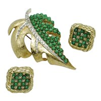 JOMAZ  Green Seed Bead Rhinestone  Brooch Earring Set