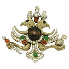Rare CINER Heraldic  Double Eagle Rhinestone Cabochon Brooch Pin