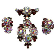 CROWN TRIFARI Red  Aurora Borealis Brooch and Earrings SET