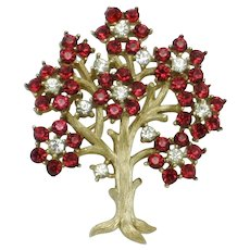 CROWN TRIFARI  Ruby Red Clear Rhinestone 'Tree of Life' Brooch Pin