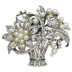 TRIFARI Philippe Pave Crystal Faux Pearl Flower Basket Pin Fur Clip