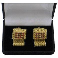 Vintage DANTE Ruby Red Rhinestone Wrap Cufflinks Cuff Links in Box