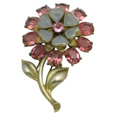 Large 1940s Glass Crystal Enamel Figural Flower Dress Clip Pin