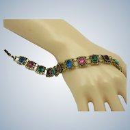 Vintage Crystal Rhinestone Signed GOLDETTE Link Bracelet