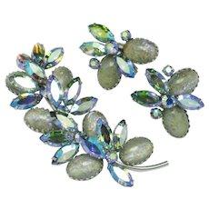 VENDOME Art Glass  AB Brooch Pendant & Earring Vintage Set