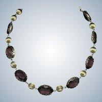 Vintage  Amethyst Glass Crystal Gold Plated Choker Necklace