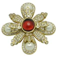 CINER Ruby Cabochon Glass Pearl Rhinestone Brooch and Pendant SALE