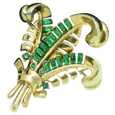 TRIFARI  Pat Pend Emerald Green Feather Brooch Pin