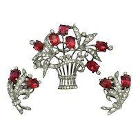 Crown Trifari Sterling Vermeil  Flower Basket Brooch Earrings Set