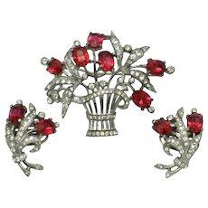 Crown Trifari Sterling Vermeil  Flower Basket Brooch Earrings Set