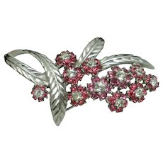 Jomaz Mazer  Pink Rhinestone Flowers Rhodium Plated Brooch Pin
