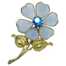 Signed TRIFARI Philippe Blue Poured Glass Figural Flower Clip Pin