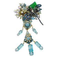 Large STANLEY HAGLER Crystal Rhinestone Figural Dragonfly Pin Magnificent