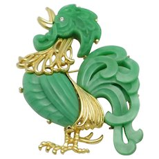 Signed HATTIE CARNEGIE  Green Thermoplastic Figural Rooster Brooch and Pendant