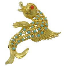 DeNICOLA Fantasy Figural Sea Serpent Beaded Brooch Pin