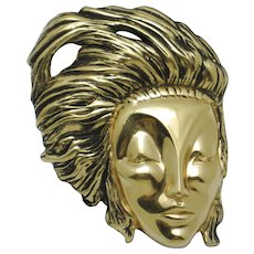 Vintage ART DECO 89 Co Gold Plated Face Brooch Pin Book Piece