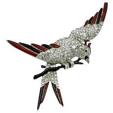 Very Rare KTF TRIFARI  Parakeet on Branch Bird Brooch Pin 1937  Book Piece
