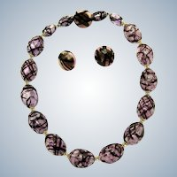 Vintage Hand Painted Purple Hand Blown Glass  Necklace Earring SET