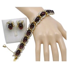 Pristine Vintage JOMAZ Amethyst Purple Cabochon Rhinestone Bracelet Earrings SET