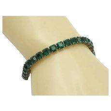 Art Deco STERLING Emerald Green Rhinestone Tennis Bracelet