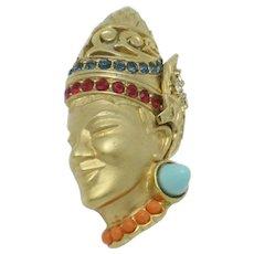 Very Rare  BOUCHER  Figural Deity Turbaned Prince Brooch Pin