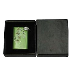 VENDOME Perfume Purse Atomizer Green Enamel Etched Flowers Original Box
