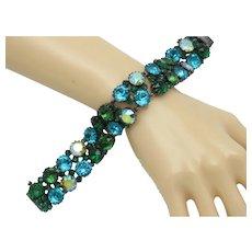 MADE IN AUSTRIA Caribbean Blue Green Rhinestone Bracelet Gorgeous