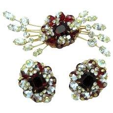 HATTIE CARNEGIE  Rhinestone Gold Plated Brooch Earrings Set