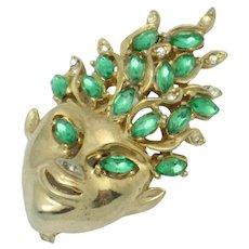 Vintage REJA (Unsigned) Emerald Green Sprite Face Pin Brooch