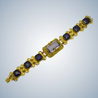 Signed Czech Art Deco  Amethyst Glass Filigree Link Bracelet