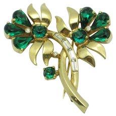Vintage MAZER BROS Emerald Green Rhinestone Figural Flower Brooch Pin