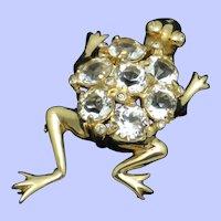 Signed REJA Crystal Rhinestone Figural Frog Brooch Pin Rare