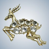 Vintage REJA Crystal Rhinestone Figural Deer Brooch Pin