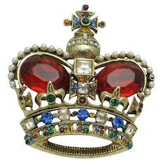 Vintage 1949 MAZER Rhinestone Pearl Crown Brooch and Pendant